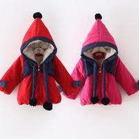 2014 winter jade little girls clothing child plus velvet thickening wadded jacket outerwear wt-4122