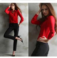 New 2015 spring summer Women FASHION V-neck long sleeve chiffon Blouse/femininas tropical plus size body blouses blusinhas