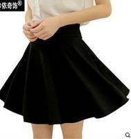 2014 new Autumn and winter high waist pleated skirts  black A-line skirt 00109