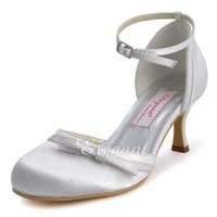 Ladies Shoes  R001 Ivory White Round Toe Buckle Bow High Heel Satin Bridal  Wedding Pumps Euro 35-42/US 4-11