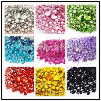 New 1110pcs/set 9 Colors Mixed size Round Acrylic Loose Non Hotfix Flatback Rhinestones DIY Glitter Nail Art Stones Decoration
