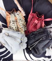 2015 new arrival fashion women winter handbag rabbit fur messenger bags bucket bag l1415