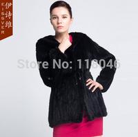 z67 HIgh quality genuine real knitted mink fur coat jacket for elegant women winter warm overcoat knit  furs black coats parka