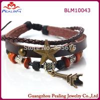 Hot Sale Fashion Multilayer Coffee Leather Strap Bracelets & Bangles Vintage Stars  tower Pendant Bracelet For Women Men