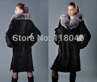 Real genuine winter fur coat for luxury European fashion women warm long parka big size womens coats jackets ladies overcoat