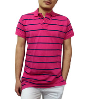 Wholesale Factory man polo Shirts spring 2015 Summer Designer Fashion Slim Short Sleeve Embroidered Casual pink striped T Shirts