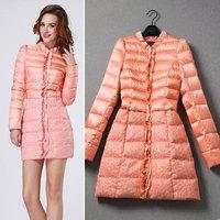 HIGH QUALITY European Fashion Women's Winter Down Jacket Coat 2014 Fashion Long Sleeve Embroidery Long Down Parkas Outerwear