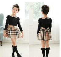 2015 New Autumn Children Clothing Dress For Girls Baby Girl Dresses 100-140 European And American Classic Plaid Girls Dress