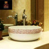 China Hand Painted Art Lavabo Countertop Ceramic Sink Bathroom Sink