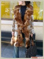 z92 New European American fashion women real natural Import crystal fox fur long coat jacket luxury ladies winter warm coats