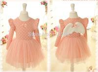 Retail sales 2014 Angel wings LONG lovely girls dress , style Baby & Kids Clothing Children's Dressbv