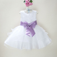 6 color high quality little girl flower tutu lace party dress with big bows 2-8 years