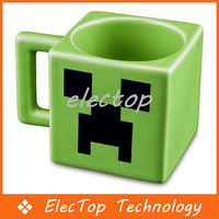 Free Shipping 2014 New Arrived Minecraft Creeper JJ Coffee Cup Green Drinkware Tumbler Tumblerful Retail Box