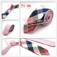 Hot,2015 Brand New,Men Red Navy Multi color corbatas necktie,Mens Plaid double wear Cotton gravata Skinny Neck Ties,TI06