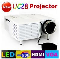 UC28 with HDMI Mini Micro AV LED Digital Video Game Projectors Multimedia player Inputs AV VGA USB SD free shipping