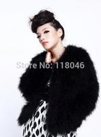 z93 New 2014 European fashion real genuine ostrich fur short coat jacket black women's winter furs coats jackets big parkas