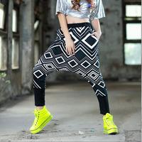 2014 new fashion Women geometric print Pants female elegant slim Trousers punk  autumn female personalized casual harem pants
