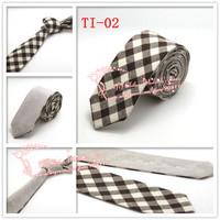 Cheap,2015 Brand New,Mens fashion Plaid check double wear Cotton gravata Skinny Neck Ties,Men Khaki Beige corbatas necktie,TI02