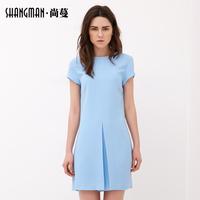 Man still fall  new Korean hedging round neck short-sleeved dress ladies skirt Personality