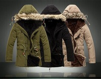 2014 Hot Sale Men's Solid Comforatble Causal Long Warm Coat Jacket Male Fashion Padded Hooded Winter Wear Thick Coat 94