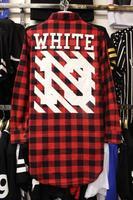 Pyrex OFF White Virgl Abolh men Casual Tartan plaid shirts Long sleeve Pyrex  man High Low Zipper casual Lattice Flannel shirt