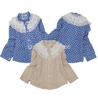 [April's] fashion girls clothing,spring kids blouse cotton blouse  children long sleeve srtipes lace blouse A13119