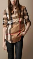 Classic 2014 Women Fashion British Brand Long Sleeve Big Plaid Casual Shirts/Designer Loose Fit Big Check Tops/Blouse #8525