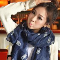 2015 New Fashion women winter and autumn scarves owl print voile scarf bufandas brand big size soft woman scarf shawl