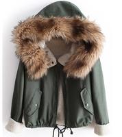 2014 new  fashion warm autumn green long sleeve top women skin coat with casual hood coat