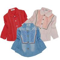 [April's] fashion girls clothing, kids blouse cotton blouse  children long sleeve printed floweer lace blouse A13131