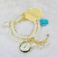 Korean New Fashion Rose Flower Women Leisure Luxury Jewelry Watches,Girl Smart Casual Tassel Chain Pearl Bracelet Quartz Watches