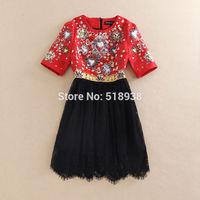 New 2015 spring women vintage fashion luxury brand handmade beading black lace dress baroque patterns jacquard runway dresses
