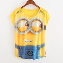 Grátis frete mulher verão New amarelo dos desenhos animados pessoas t-shirt de impressão mulheres tops e t-shirt soltas Bat manga curta T camisa(China (Mainland))