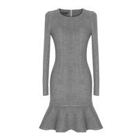Original Winter Europe and America Fashion Thicken Warm Slim Package Hip Ruffles Long Sleeve Women's Dresses Free Shipping