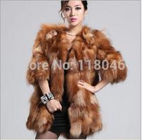 z83 New 2014 European luxury fashion women genuine sliver fox fur long coat ladies plus size jacket casual overcoat winter coats