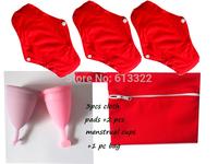 3 pcs Cloth Menstrual Pads +2 pcs Menstrual Cup+1 Storage bag,100% Medical Grade Silicone Menstrual Cup,Mama Cup