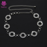 Women belt for dress, silver chain with crystal belts for women belly chain belt Youkee vestidos femininos Free shipping