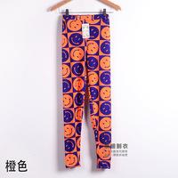 leggingAutumn new Korean yards fluorescent pants pantyhose feet pants graffiti smiley wild flower pants bottoming