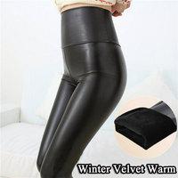 new 2015 free shipping faux leather leggings for women Elastic High Waist fleece leggings black thick leggings leather leggings