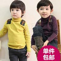 2014 autumn and winter preppy style male children's child clothing child turtleneck t-shirt basic shirt plus velvet tx-1265
