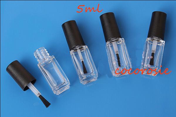 (300 pieces/lot) 5ML Empty Nail Polish Glass bottle Glue bottle Matte black cap lady cosmetic glass my bottle wholesale price(China (Mainland))