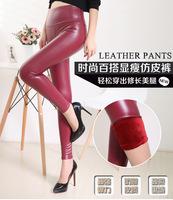 new 2015 free shipping faux leather leggings for women brand fashion pu legins Skinny Sexy warm leggings shiny leather leggins