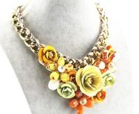 Jewelry Pendant Chain Crystal Choker Chunky Statement Bib Necklace