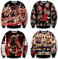 Men's Fashion Professional Wrestler personalized digital printing long-sleeved sweater sweatshirt. Free Shipping