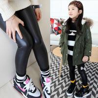 2014 winter girls clothing child plus velvet thickening long trousers leather pants boot cut jeans legging kz-5950