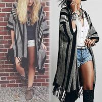 Fashion Women Striped Long Sleeve Cape Shawl Warm Knit Sweater Tassels Decoration WF-8424