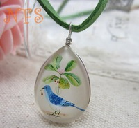 Spirit of the forest bird double imitation time gemstone necklace jewelry, fresh bird retro necklace