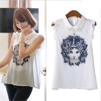 Women Cute Cat Print Blouse Peter Collar White Vest Women Butterfly Sleeve Beaded Shirt Spring Summer Casual Tops