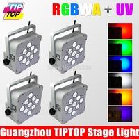 4pcs/lot 9*18W 6in1 RGBWA+UV Battery Wireless LED Par Light DMX High Quality Battery Flat Led Par Light DMX 6/10dmx Channels