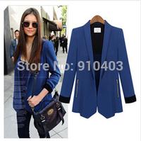 New Fashion Spring Women Blazer  Slim Blaser Feminino Blue Jacket Coat Cargidans,Women Business Suits Formal Office Suits Work